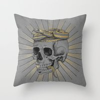 stay gold Throw Pillows featuring stay gold by Laura Graves