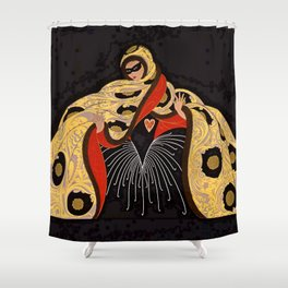 "Art Deco Illustration ""Masquerade"" Shower Curtain"