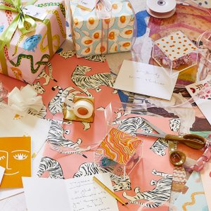Society6 wrapping paper and stationery cards