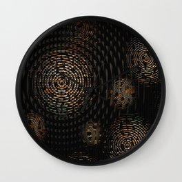 Dark and Orange Circle Weave Pattern Wall Clock