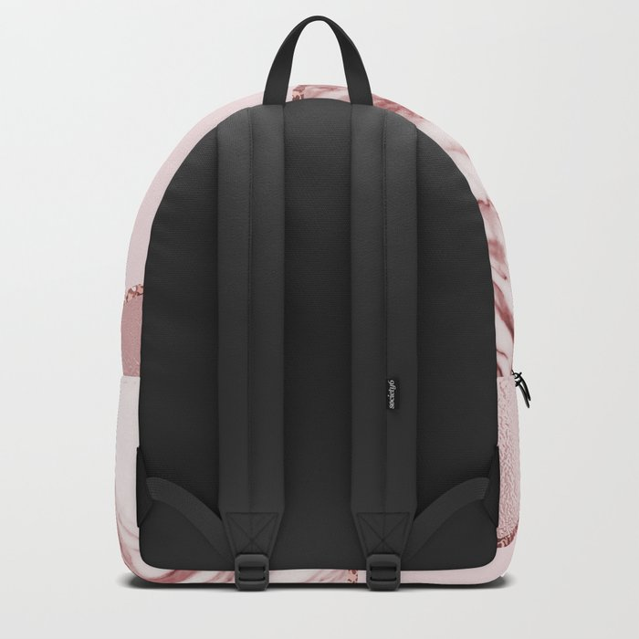 Spliced mixed pinks rose gold marble Backpack