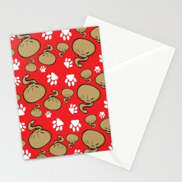 Dumpling Cat Red pattern Stationery Cards