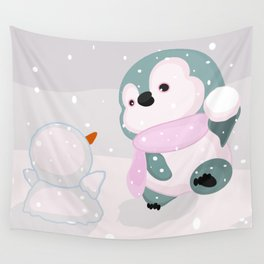 Baby Penguin and Snowman Wall Tapestry