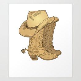 Vintage Retro Cowboy Hat Cowboy Boots Gift Art Print