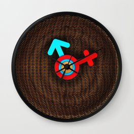 Illustration imitating a decorative clock with a mesh structure. Symbol of man and woman. Wall Clock