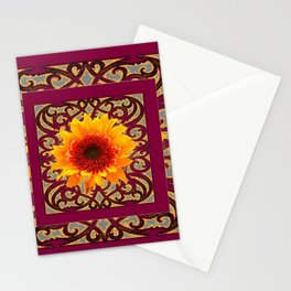 BURGUNDY Colored Golden Sunflowers  Grey Pattern Stationery Cards