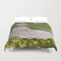 monet Duvet Covers featuring Springtime by Claude Monet by Palazzo Art Gallery