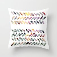 the strokes Throw Pillows featuring others strokes by clemm