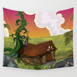 Jack and the Beanstalk Cottage in the evening Wall Tapestry