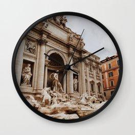 Italy Photography - Trevi Fountain Under The Gray Sky Wall Clock