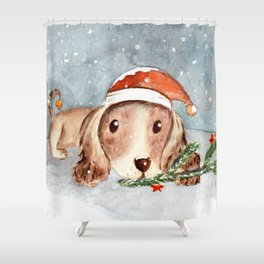 Christmas Puppy Look Shower Curtain