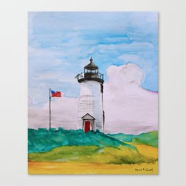 Cape Poge Lighthouse, Martha's Vineyard watercolor Canvas Print