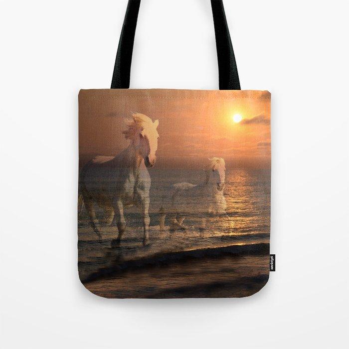 Sea Horses, Soul Mates, Running Horses, Spirits of the Sea Tote Bag