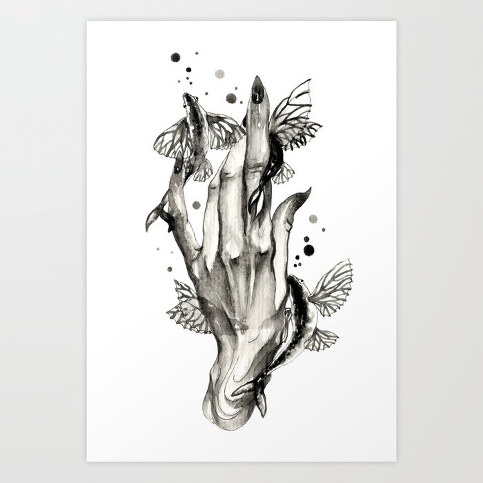 Flying Fishes Pets Art Print