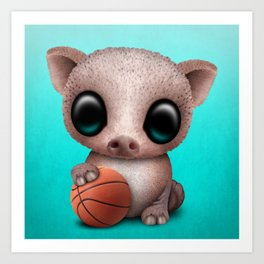 Baby Pig Playing With Basketball Art Print