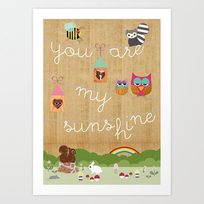 You are my sunshine collage with cute animals, Nursery Wall Art Art ...