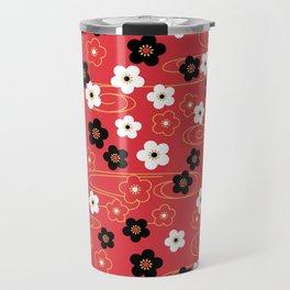 Red Sakura Kimono Pattern Travel Mug