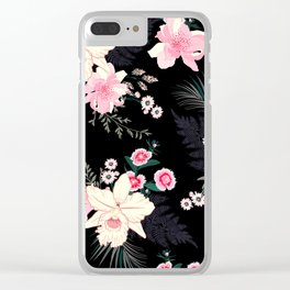 Beautiful Vintage Black Floral Pattern Clear iPhone Case