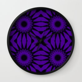 Purple & Black Pinwheel Flower Wall Clock
