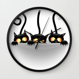 Three Naughty Playful Kitties Wall Clock