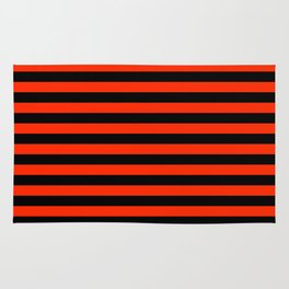 Bright Red and Black Horizontal Stripes Rug