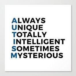 Autism Autistic Unique Intelligent Mysterious Canvas Print
