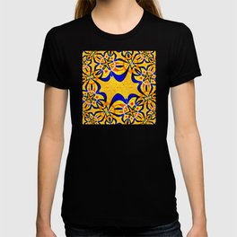 Abstract geometric infinite celestial circle star and flower burst pattern design in multicolors T-shirt