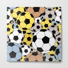 Sports Fan Multi Color Soccer Ball Collage Metal Print