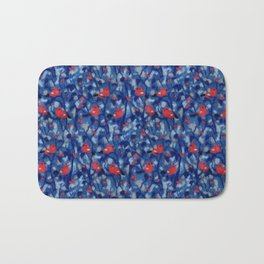 Bullfinches, Winter Forest Birds Red Berries Wool Painting Bath Mat