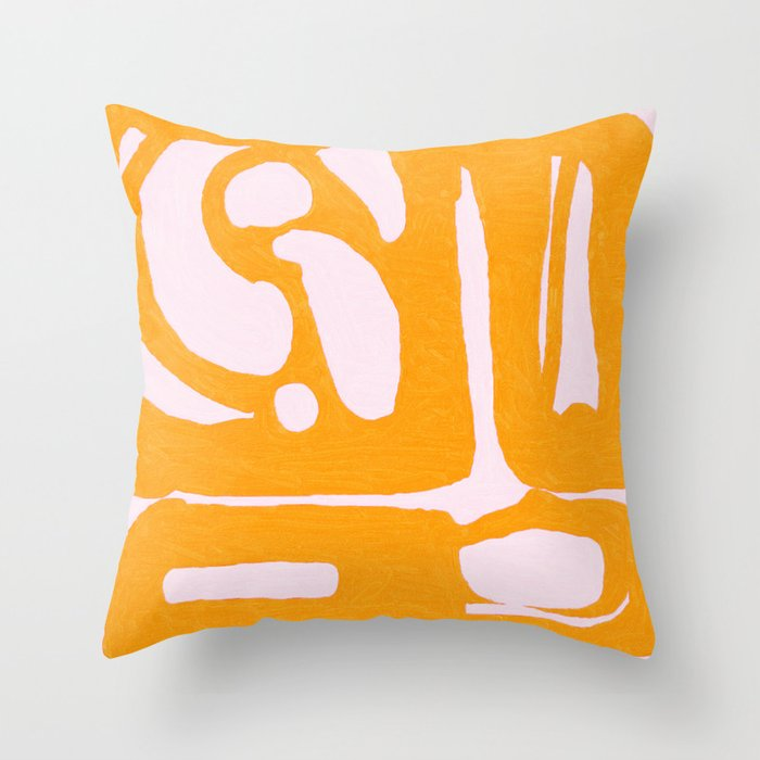 Abstract in Yellow and Cream Throw Pillow