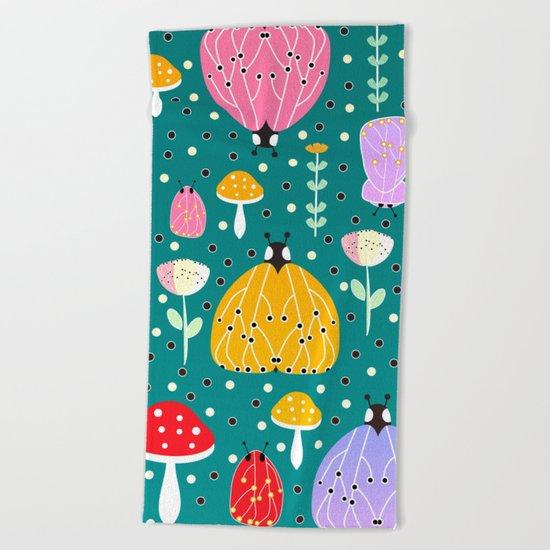 Bugs and mushrooms Beach Towel