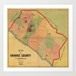 Map of Orange County, California (1889) Art Print