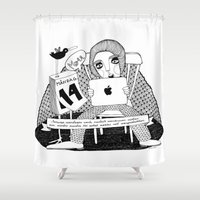 swedish Shower Curtains featuring Swedish Alliteration by Karin Ohlsson