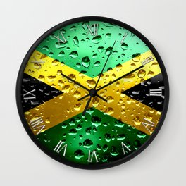 Flag of Jamaica - Raindrops Wall Clock