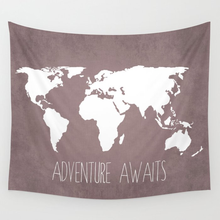 Adventure awaits world map wall tapestry by bysamantha society6 adventure awaits world map wall tapestry gumiabroncs Image collections