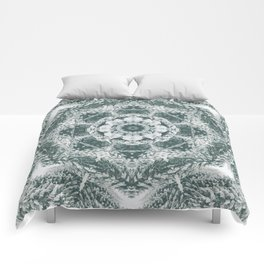 Winter snowy spruce forest mandala Comforters