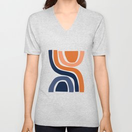 Abstract Shapes 29 in Burnt Orange and Navy Blue Unisex V-Neck