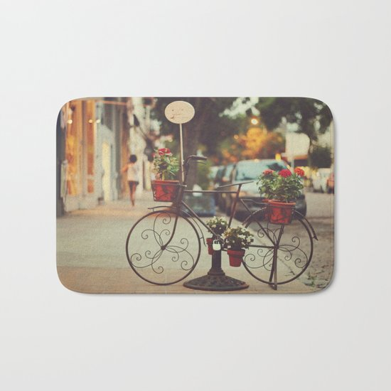 The bike with the flowers Bath Mat