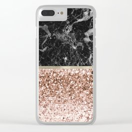Warm chromatic - rose gold and black marble Clear iPhone Case