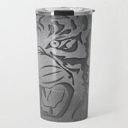 Metal Engraved Tiger Line art Travel Mug