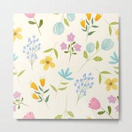 Tiny Flower Pattern - Vanilla Metal Print