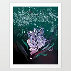 Wind tangle, blue Art Print
