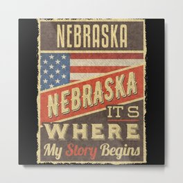 Nebraska USA Flag Metal Print