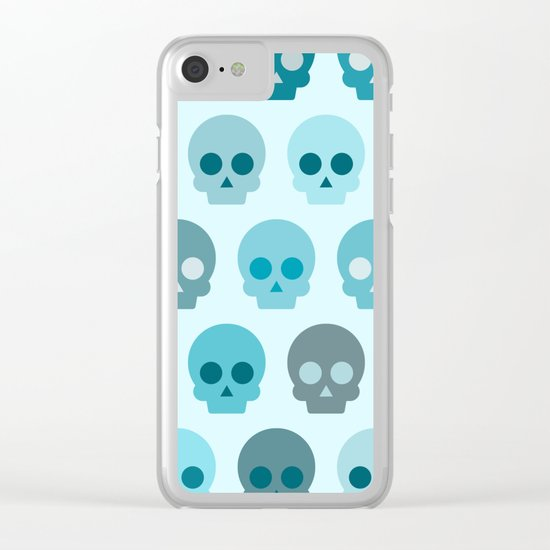 Colorful Skull Cute Pattern II Clear iPhone Case