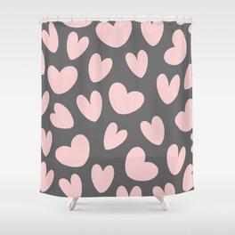 Valentine's Day Pink Gray Romantic Hearts Shower Curtain