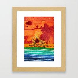 Sunset in planet Bizarro Framed Art Print