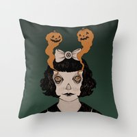 alisa burke Throw Pillows featuring jack o lantern eyes by Ally Burke