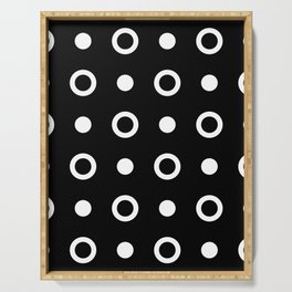Polka Dot Pattern 243 Black And White Serving Tray