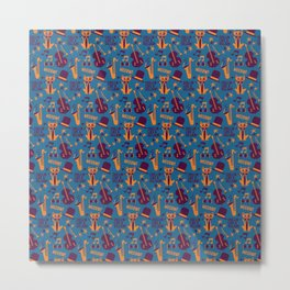 Cool Cat Pattern by Holly Shropshire Metal Print