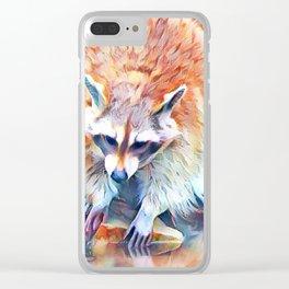 Aquarell Raccoon Clear iPhone Case